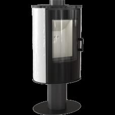 Кафельная печь-камин Kratki KOZA AB S/N/O/DR GLASS кафель белая (8,0 кВт)